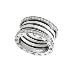 Bvlgari B.ZERO1 faux bague or blanc 4 bandes Avec pavage de diamants