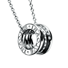 Bvlgari B.ZERO1 fake necklace white gold paved with diamonds pendant