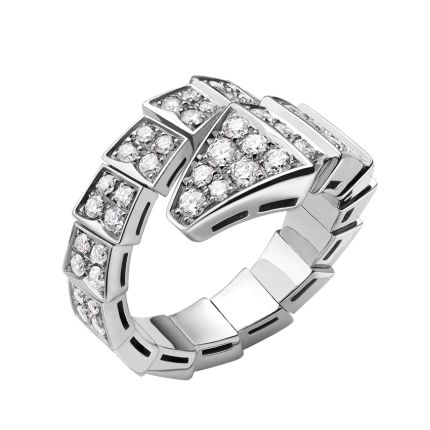 Bvlgari Serpenti replica ring white gold ring paved with diamonds