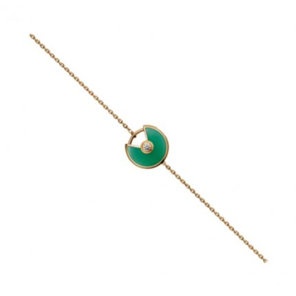 amulette de cartier yellow gold chain inlaid diamonds ultra-small malachite replica steel bracelet