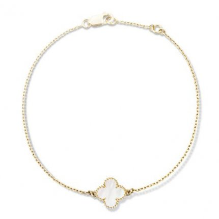 alhambra yellow gold fake van cleef & arpels white mother-of-pearl bracelet