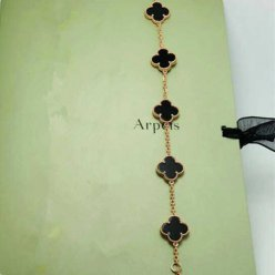 alhambra or rose replique van cleef & arpels onyx bracelet