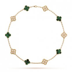 alhambra yellow gold fake van cleef & arpels malachite round diamonds necklace