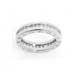 Bvlgari B.ZERO1 faux bague or blanc 1 bande Avec pavage de diamants