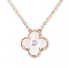alhambra pink gold replica van cleef & arpels white mother-of-pearl round diamond pendant