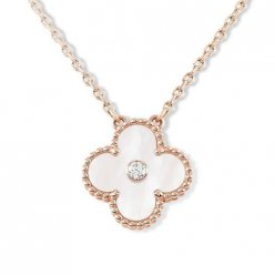 alhambra oro rosa replica van cleef & arpels white mother-of-pearl round diamond ciondolo