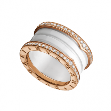 Bvlgari B.ZERO1 replique bague Or rose 4 bandes Cerami blanc avec pavage de diamants