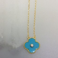 alhambra yellow gold copy van cleef & arpels turquoise round diamond pendant