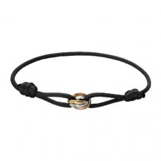 Trinity de replica cartier 3-gold black cotton rope bracelet B6016700
