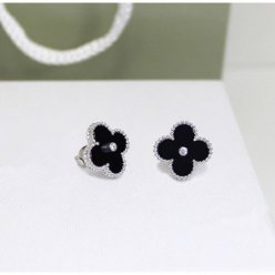 alhambra white gold copy van cleef & arpels onyx round diamonds earrings