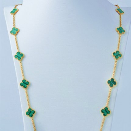 alhambra pink gold copy van cleef & arpels malachite long necklace
