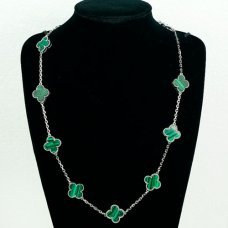 alhambra white gold replica van cleef & arpels malachite necklace