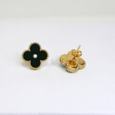 alhambra yellow gold fake van cleef & arpels onyx round diamonds earrings