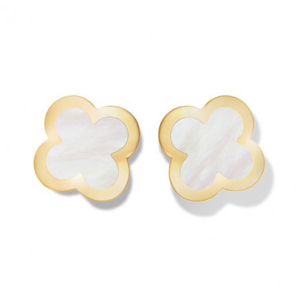 alhambra or jaune replique van cleef & arpels white mother-of-pearl boucles d'oreilles