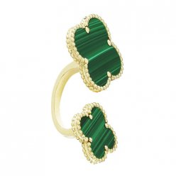 between the finger yellow gold replica van cleef & arpels malachite ring