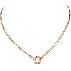 cartier copy love necklace pink Gold with 2 Diamonds double stranded pendant