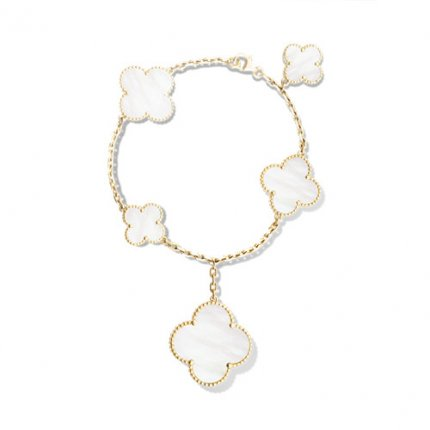 alhambra gelbgold replik van cleef & arpels white mother-of-pearl armband