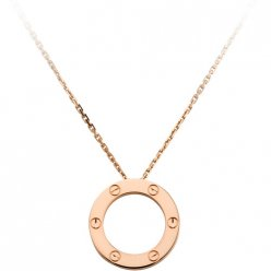 cartier copy love necklace pink Gold screw design with pendant
