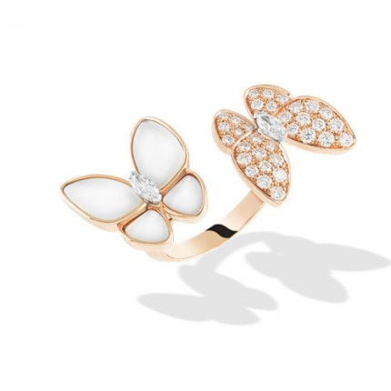 between the finger pink gold replica van cleef & arpels white mother-of-pearl ring