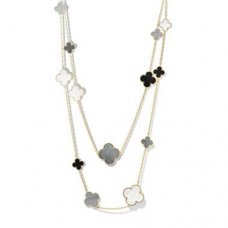 alhambra or jaune faux van cleef & arpels white and gray mother-of-pearl onyx long collier
