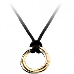 trinity de Cartier replica necklace 3-gold pendant black rope diamond pendant
