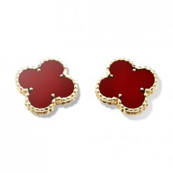 alhambra yellow gold replica van cleef & arpels carnelian earrings
