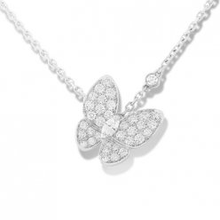 alhambra white gold replica van cleef & arpels marquise-cut diamonds pendant
