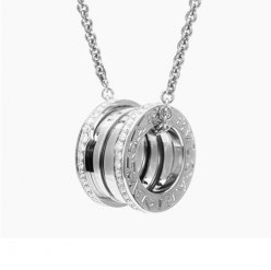 Bvlgari B.ZERO1 Collier or blanc Pavé de diamants pendentif replique