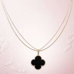 alhambra yellow gold replica van cleef & arpels onyx long necklace