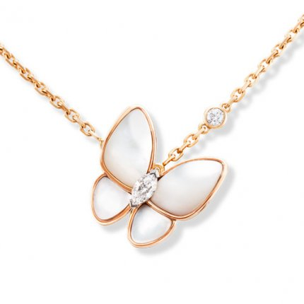 alhambra rotgold replika van cleef & arpels white mother-of-pearl anhänger