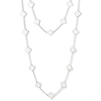 alhambra white gold fake van cleef & arpels white mother-of-pearl long necklace