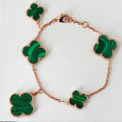 alhambra or rose faux van cleef & arpels malachite bracelet