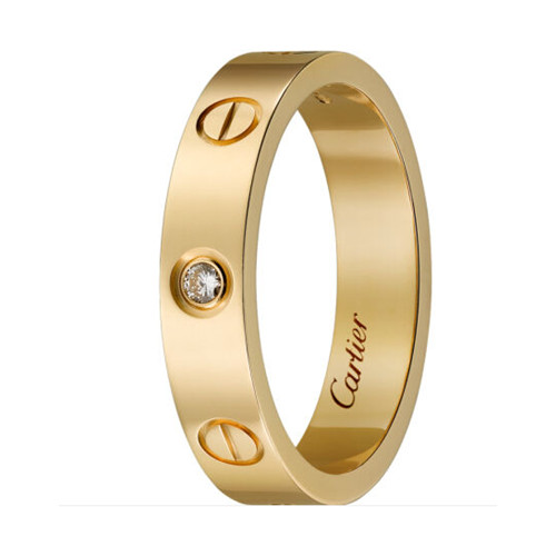 cartier replica love yellow gold ring mosaic one diamond narrow version - Click Image to Close
