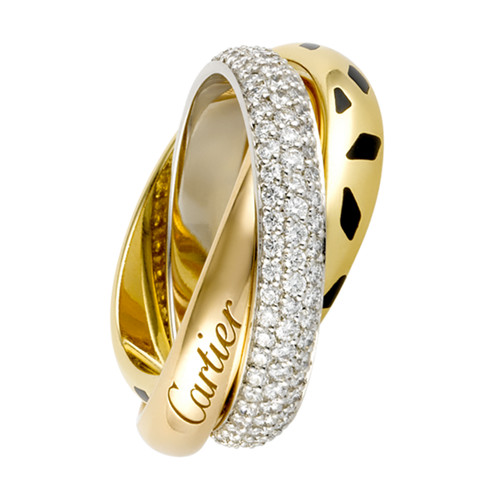 trinity de Cartier replica 3-gold ring leopard print covered diamond N4226500 - Click Image to Close