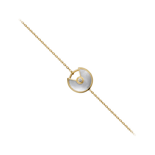 amulette de cartier yellow gold chain inlaid diamonds ultra-small White mother of pearl copy steel bracelet