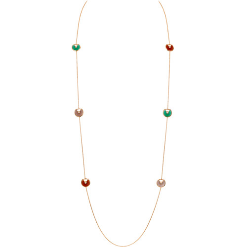 amulette de cartier fake pink gold necklace chrysoprase carnelian pink opal 6 diamond pendant