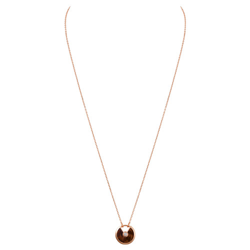 amulette de cartier faux Or rose Collier Bois de serpentine diamant pendentif