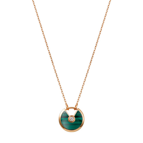 amulette de cartier copie Or rose Collier Avec malachite diamant pendentif