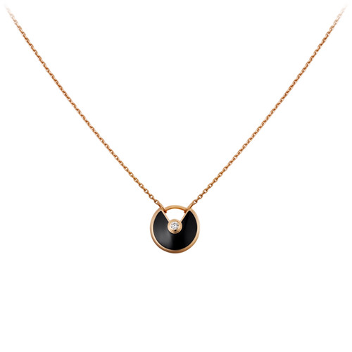 amulette de cartier copie Or rose Collier onyx diamant pendentif