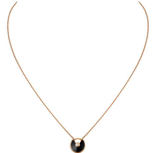 amulette de cartier fake pink gold necklace onyx diamond pendant