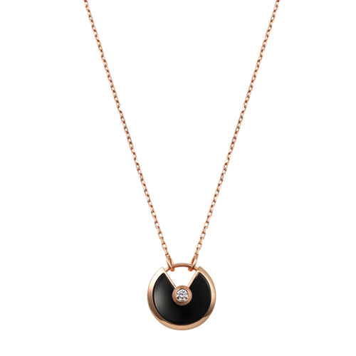 amulette de cartier replique Or rose Collier onyx diamant pendentif