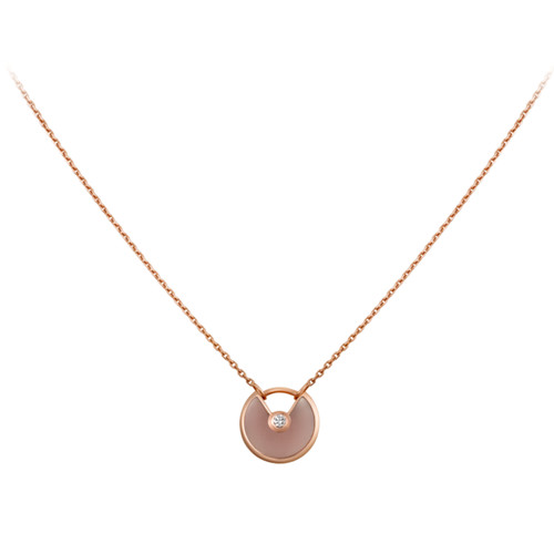 amulette de cartier copy pink gold necklace pink opal diamond pendant