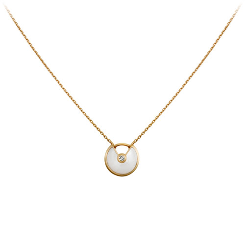 amulette de cartier replica yellow gold necklace white mother of pearl diamond pendant