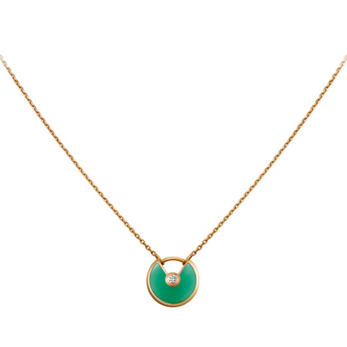 amulette de cartier replica giallo oro collana chrysoprase diamante pendente