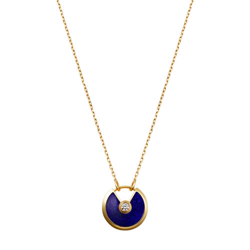 amulette de cartier fake yellow gold necklace lapis lazuli diamond pendant