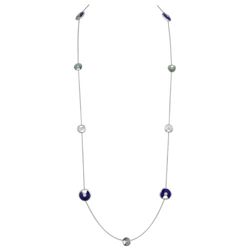 amulette de cartier replica white gold necklace white and gray mother-of-pearl lapis lazuli pendant