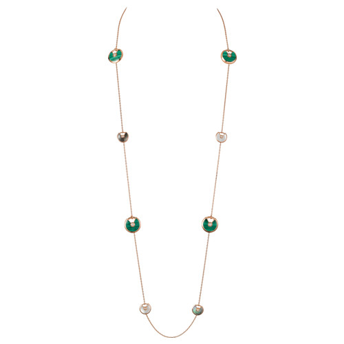 amulette de cartier fake pink gold necklace white and gray mother-of-pearl malachite pendant