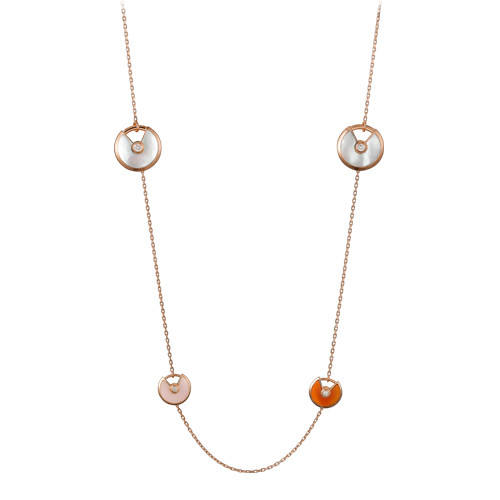 amulette de cartier replica pink gold necklace white and gray mother-of-pearl pink opa carnelian pendant