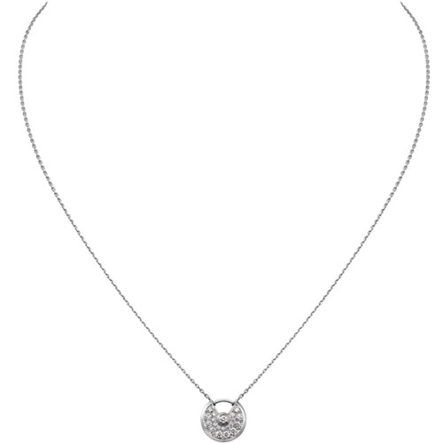 amulette de cartier replica white gold necklace Covered cut diamonds pendant
