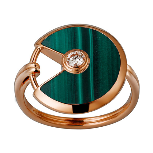 amulette de cartier replica oro rosa anello malachite diamante B4214300